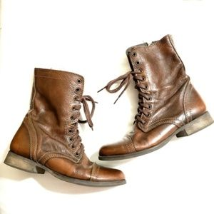 Steve Madden | Brown Combat Moto Lace Up Boots